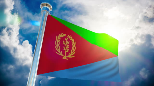 4k - eritrea flag | loopable stock video - horn of africa stock videos & royalty-free footage