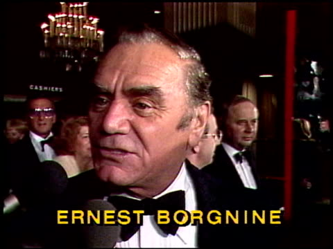 ernest borgnine talks about dancing singing and playing the banjo ernest borgnine interview at afi tribute to fred a on april 09 1981 in los angeles... - 1981 stock-videos und b-roll-filmmaterial