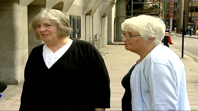 vídeos de stock, filmes e b-roll de five youths convicted london old bailey ext ernest's widow linda norton and another outside court as comment to press then go into court - widow