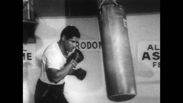 cu ernie terrell warming up for heavyweight championship fight with muhammad ali / terrell punches sandbag / terrell spars in ring - media training stock videos and b-roll footage