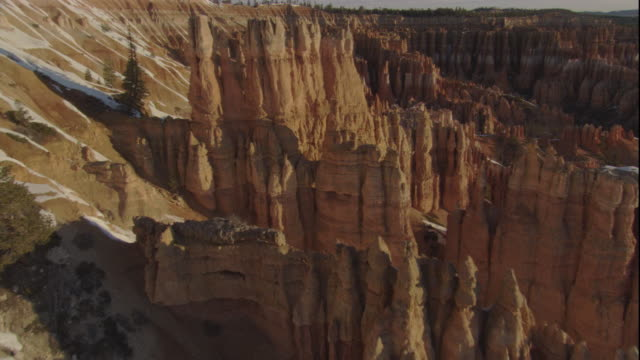 Eroded limestone rock formations in Bryce Canyon. Available in HD.