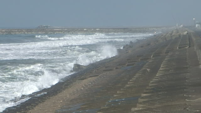 vidéos et rushes de eroded node-coast on kujukuri beach, chiba, japan - érodé