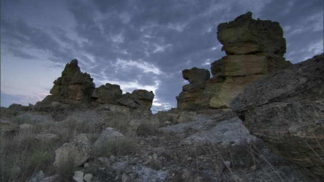 Eroded rock outcrops at dusk, Madagascar