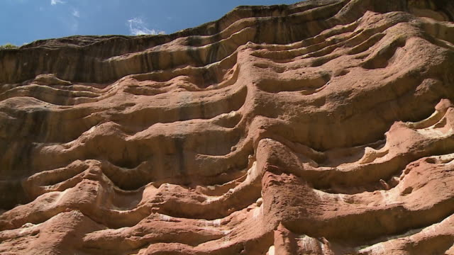eroded weathering sandstone cliffs, andes, peru - sandstone stock videos & royalty-free footage