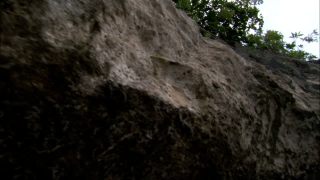 Erosion has pitted the base of a rock island. Available in HD.