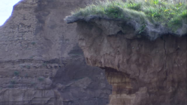 Erosion lines cover coastal cliffs. Available in HD.