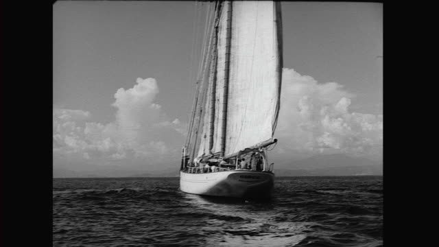 stockvideo's en b-roll-footage met 1946 errol flynn's yacht zaca - 1946