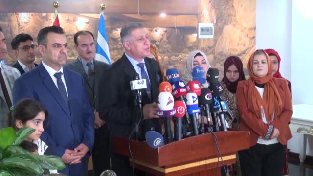 ershad salihi the head of the iraqi turkmen front attends an event in kirkuk iraq on august 17 2019 the head of the iraqi turkmen front on saturday... - back to front stock videos and b-roll footage
