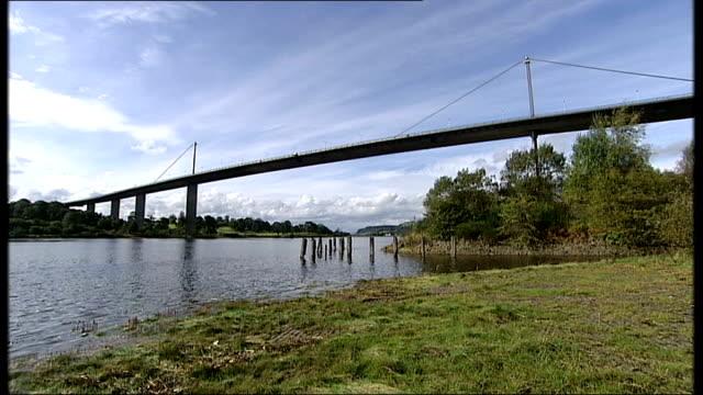 wide shot of erskine bridge over river clyde low angle shot of erskine bridge - erskine bridge stock videos & royalty-free footage