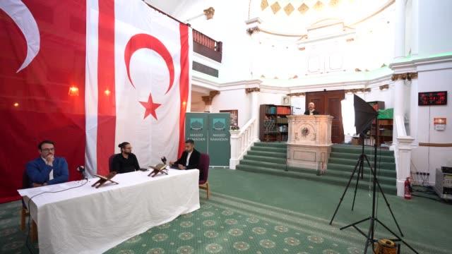ertan karpazli, mustafa kureysi, yusuf ahmet and hushim el bakayi, the uk's most prominent turkish cypriot hoca during a recording of prayers ahead... - mediterranean culture stock videos & royalty-free footage