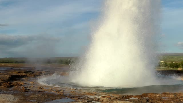 erupting geyser in iceland - geyser stock videos & royalty-free footage