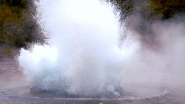 SLO MO Erupting geyser in Iceland