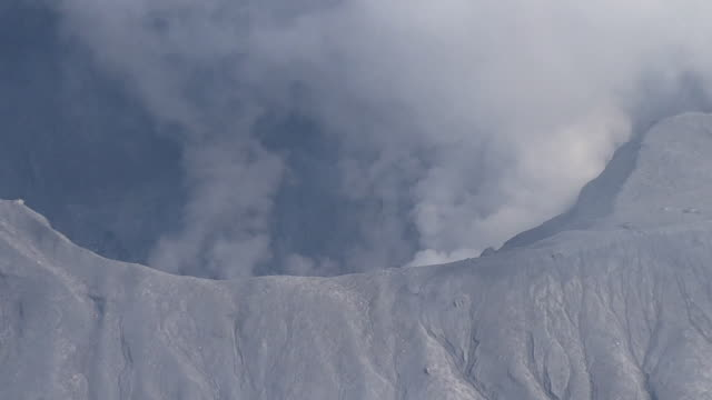 aerial, erupting mt aso, kumamoto, japan - krater stock-videos und b-roll-filmmaterial