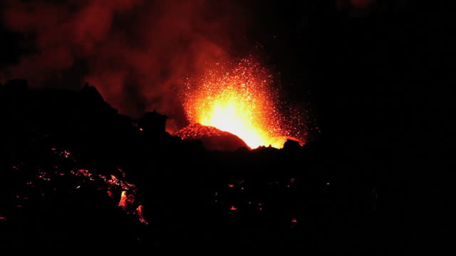 eruption at the fimmvorduhals region of the eyjafjallajokull volcano in iceland. - 2010 stock videos & royalty-free footage