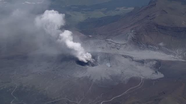 aerial, eruption of mt aso, kumamoto, japan - krater stock-videos und b-roll-filmmaterial