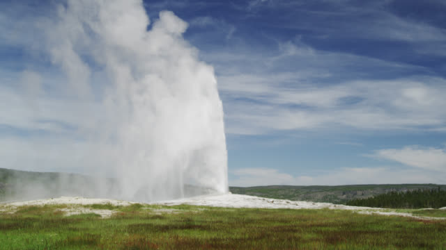 eruption of old faithful geyser, yellowstone np, united states - yellowstone national park stock videos & royalty-free footage