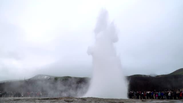 Eruption of Strokkur Gesyer in Iceland 4K