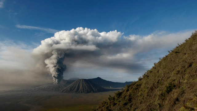 eruption of volcano bromo in indonesia - lava stock videos & royalty-free footage