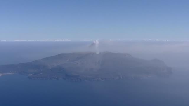 aerial, eruptive crater of kuchinoerabujima, kagoshima, japan - philippine sea stock videos & royalty-free footage