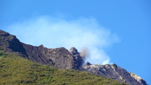 Eruzione del Vulcano Stromboli con nube di fumi