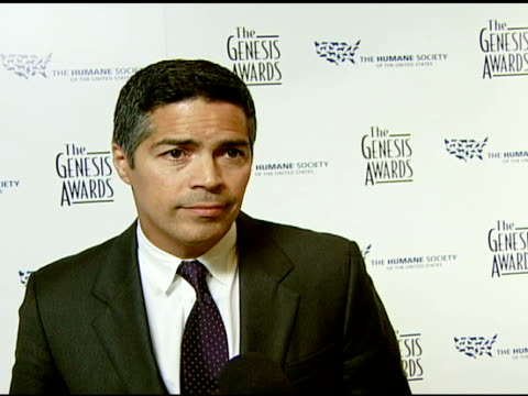 Esai Morales on the event doing a dog impression animal rights issues and media coverage of animal issues at the 2008 Genesis Awards at the Beverly...