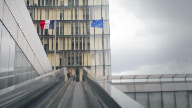 Escalator and Modern District in Paris