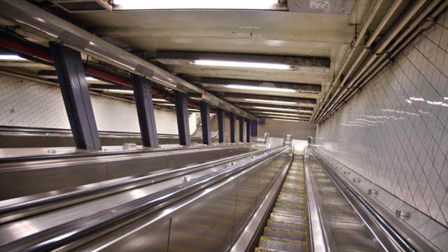 escalator at new york subway station. - escalator stock videos & royalty-free footage