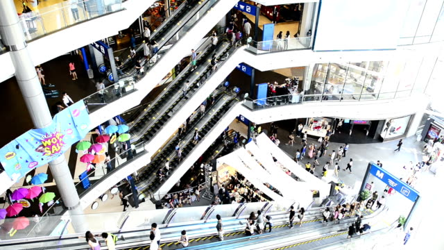 hd - escalator in department store - department store stock videos and b-roll footage