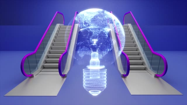 escalator shopping and lamp bulb world map - energy efficient lightbulb stock videos and b-roll footage