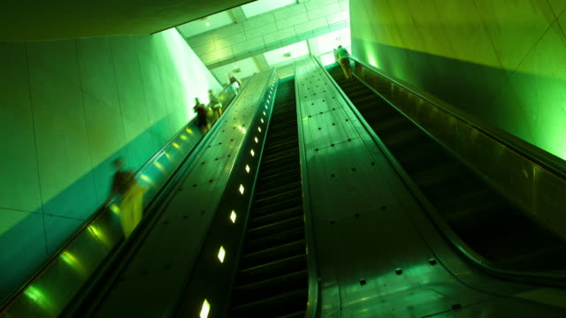 escalators at dupont circle metro station - dupont circle stock videos & royalty-free footage