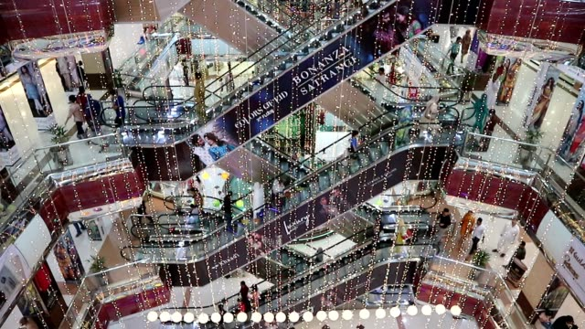 escalators in a shopping mall - punjab pakistan stock videos and b-roll footage