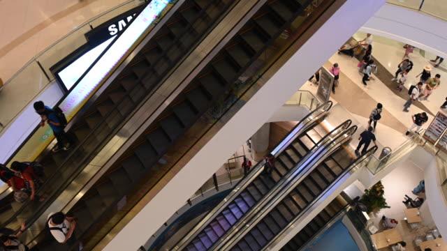 escalators in bangkok shopping mall - escalator stock videos & royalty-free footage