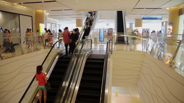 ms escalators in mall / tianjin, china  - staircase stock-videos und b-roll-filmmaterial