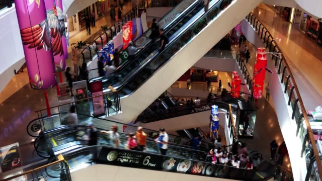 escalators in shopping mall - plug socket stock videos and b-roll footage