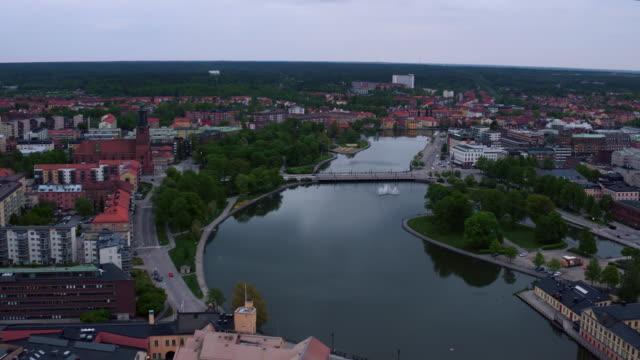 Antenne: Eskilstuna Stadt und den Fluss Eskilstunaån