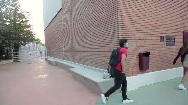 level students arrive at school paraíso sagrados corazones madrid on september 10, in madrid, spain. . editorial use only. - self discipline stock videos & royalty-free footage