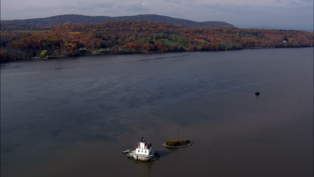 esopus meadows light - aerial view - new york,  ulster county,  united states - ulster county stock videos & royalty-free footage