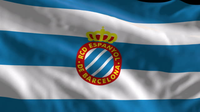 rcd espanyol spanish soccer team flag waving computer generated animation for editorial use seamlessly looped and close up - loopable elements stock videos & royalty-free footage
