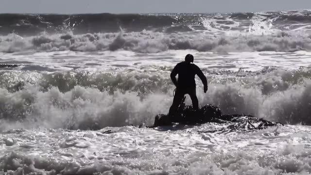 stockvideo's en b-roll-footage met esperan que las olas bravas se retiren para adentrarse en las gélidas aguas del pacífico en el sur de chile - agricultura