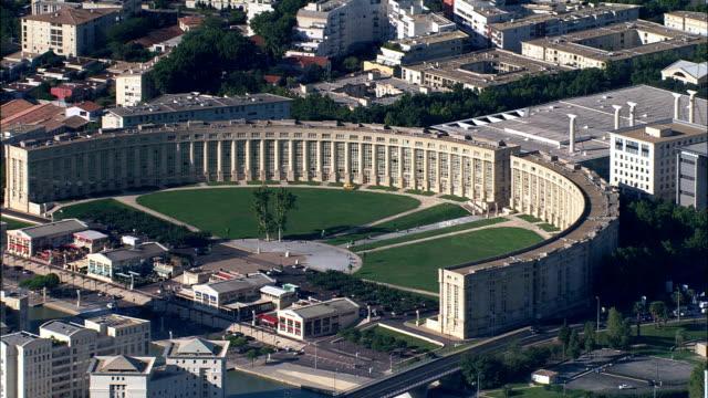 エスプラナード ドゥヨーロッパ -航空写真-ラングドックルーション、hérault、区 モンペリエ,フランス - モンペリエ点の映像素材/bロール