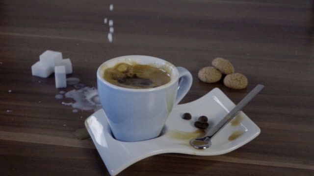 espresso coffee cup slow motion - coffee table stock videos & royalty-free footage