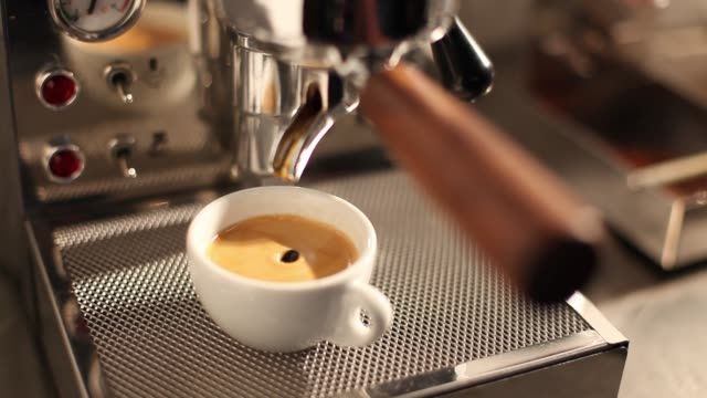 espresso machine and a cup of espresso - espresso stock videos & royalty-free footage