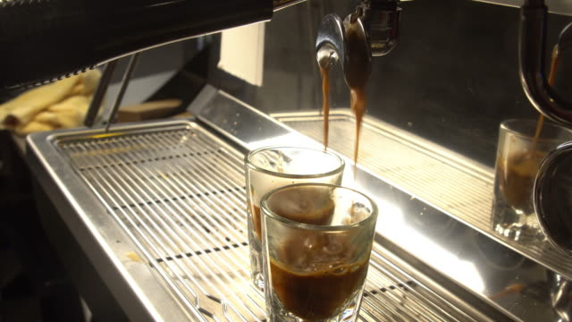 espresso machine pouring shots - espresso maker stock videos and b-roll footage