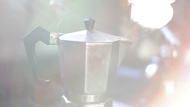 Espresso maker emitting steam