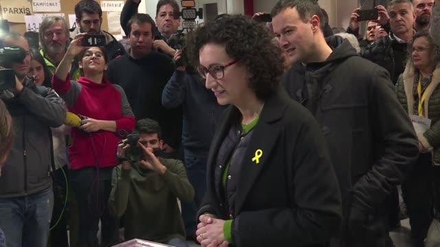 Esquerra Republicana de Catalunya ERC candidate Marta Rovira casts her ballot for the Catalan regional election at a polling station in Vic