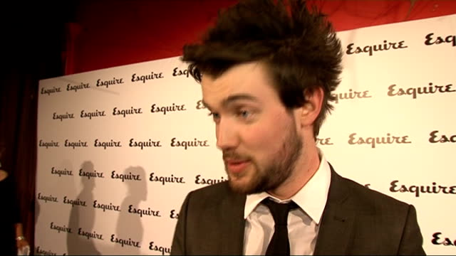 stockvideo's en b-roll-footage met esquire magazine relaunch; gvs jack whitehall posing for photocall jack whitehall interview sot - on what he's up to - recorded show last night,... - satire