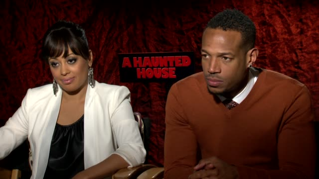 interview essence atkins and marlon wayans on why farts are funny at 'a haunted house' los angeles press junket interview essence atkins and marlon... - furzen stock-videos und b-roll-filmmaterial
