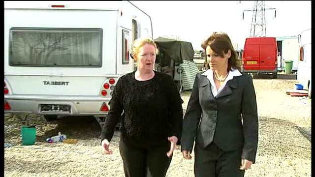 Essex Council vote to evict travellers from Dale farm site at Crays Hill ENGLAND Essex Crays Hill EXT Michelle Sheridan along on site with reporter...