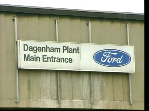 essex dagenham ext gv ford dagenham car factory pan ms 'dagenham plant main entrance' sign on wall ms 'engine plant' sign at entrance vox pops... - dagenham stock videos & royalty-free footage