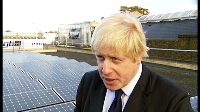 essex ilford ext boris johnson turning on solar panels on roof of ilford fire station boris johnson interview sot [on flying to copenhagen for the un... - oresund region stock videos & royalty-free footage